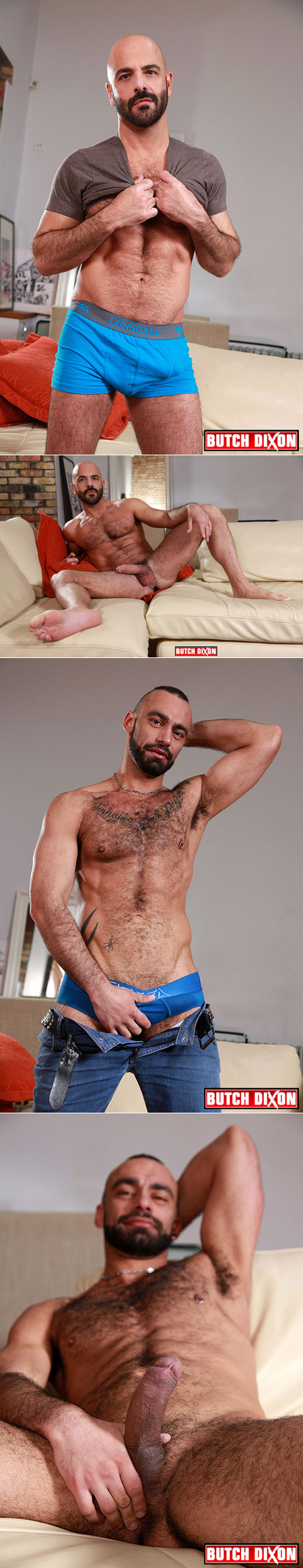 Very hairy muscle men showing off their naked bodies.