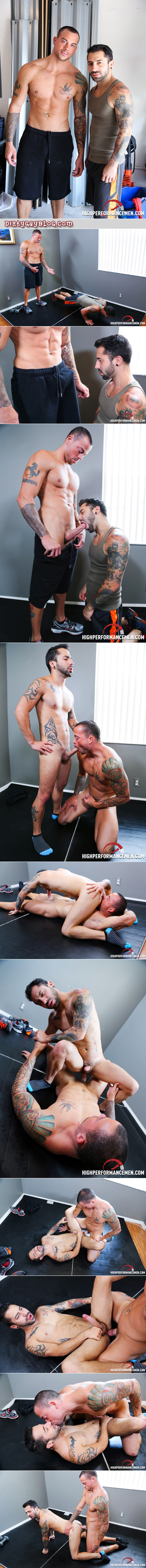Tattooed muscle man getting fucked in a private gym by his hung personal trainer.