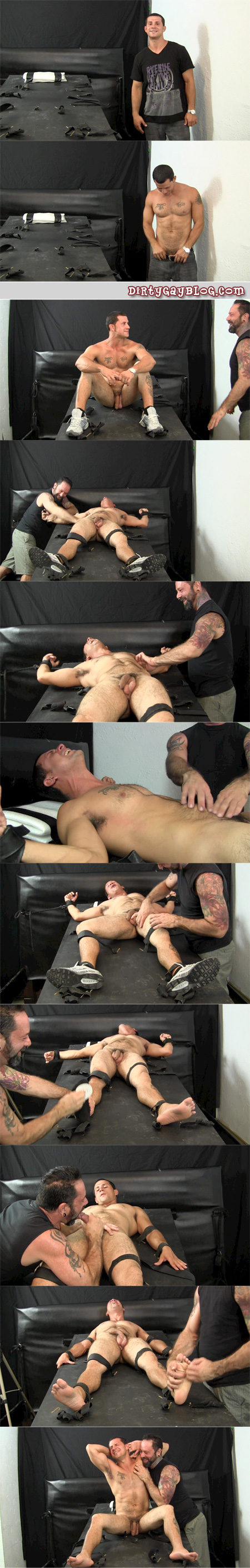 Beefy, muscular straight guy in bondage and tickled tortured by another man.