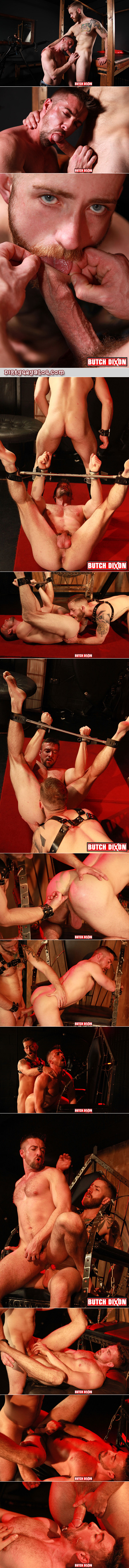 Short bearded guy fucks a tall muscular man in gay bondage.