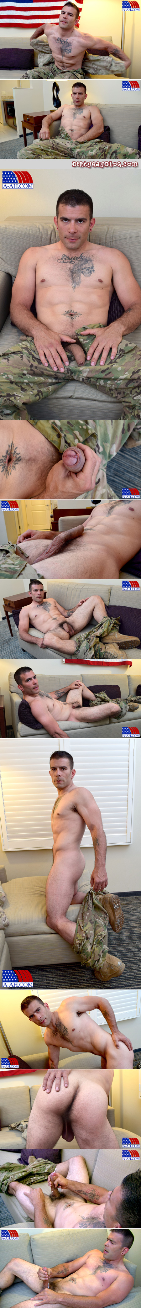 Inked, muscular, hairy Army man jacking his uncut cock and cumming.