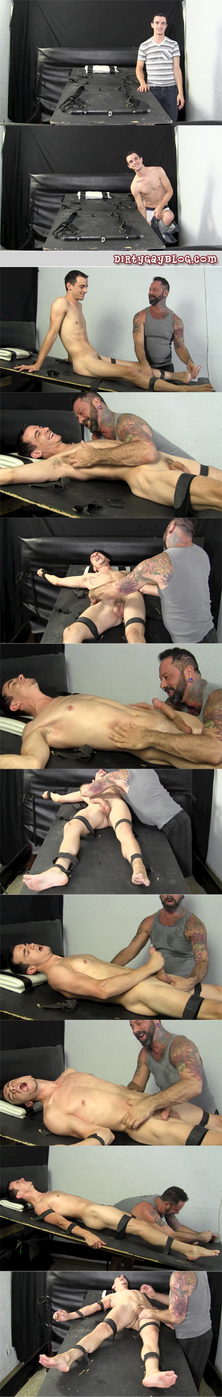 Slim, fit white guy tickled while his big hard dick is jacked.
