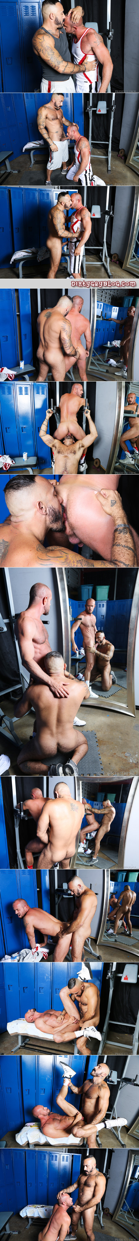 Muscle bears fucking after their workout in the gym locker room.