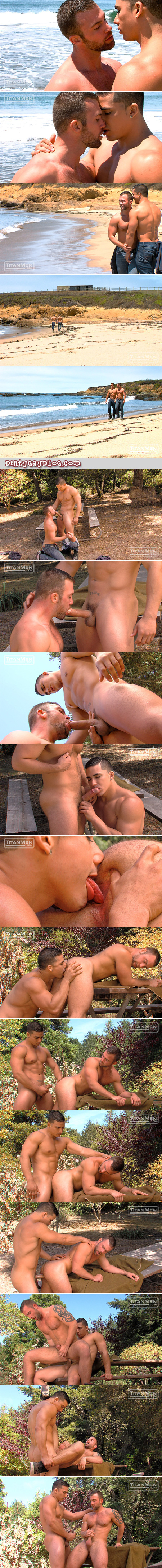 Muscle cub getting fucked in a beach campsite by a horny Italian with a thick cock.