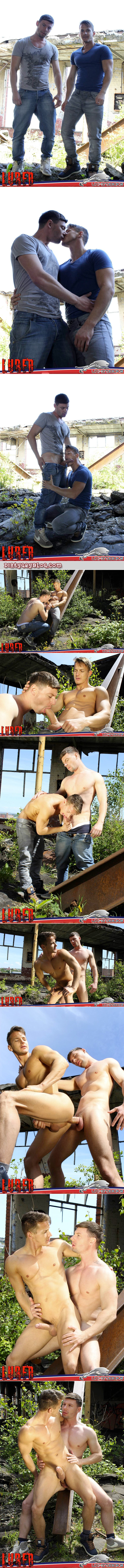 Muscular young men with huge uncut cocks fucking outdoors.
