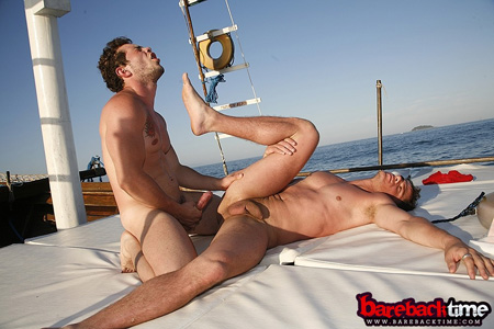Spanish men barebacking on a yacht off the coast of Portugal.