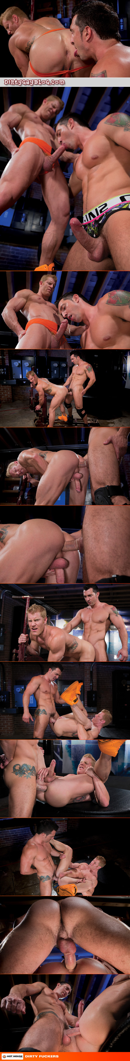 Muscle man sucking and fucking a blonde bodybuilder in his jockstrap.