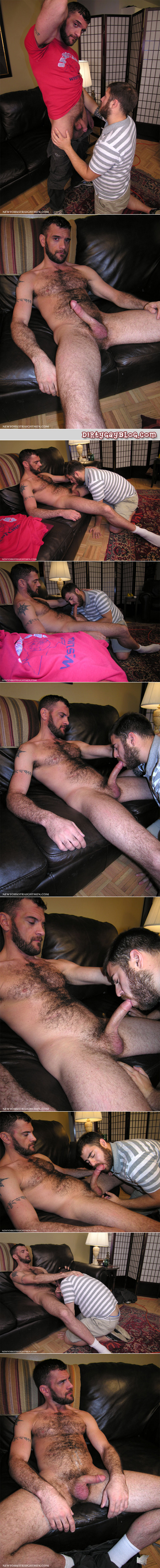 Very hairy straight construction worker getting a blowjob from another man.