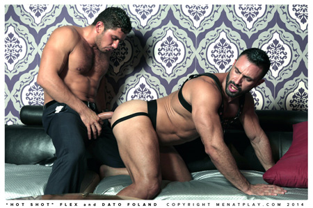 Bearded muscle man in a leather harness and black jockstrap getting fucked on all fours by a businessman in trousers.