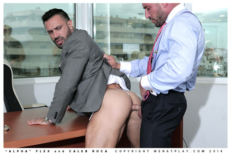 Hunky businessman fucks another suit in his perfect bubble butt.