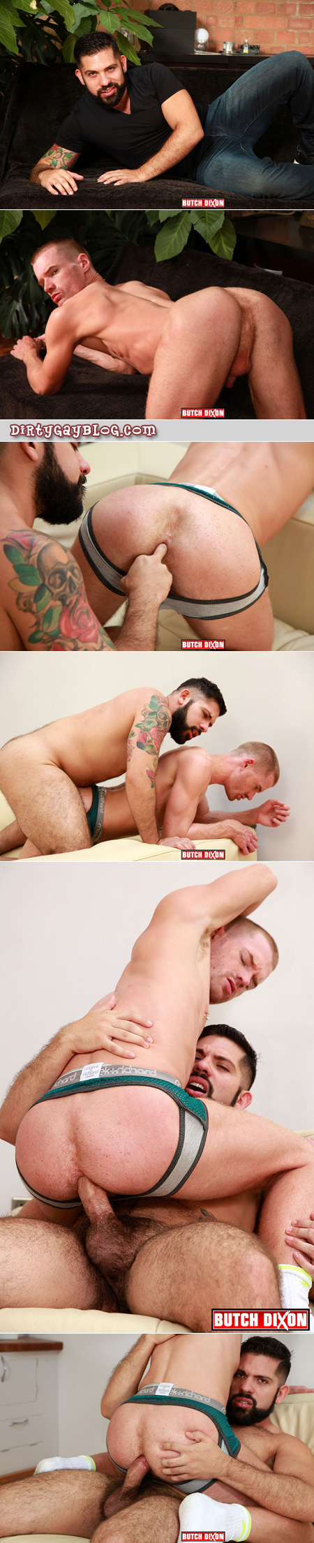Beefy bear fucking a ginger guy while he's still in his socks and jockbrief.