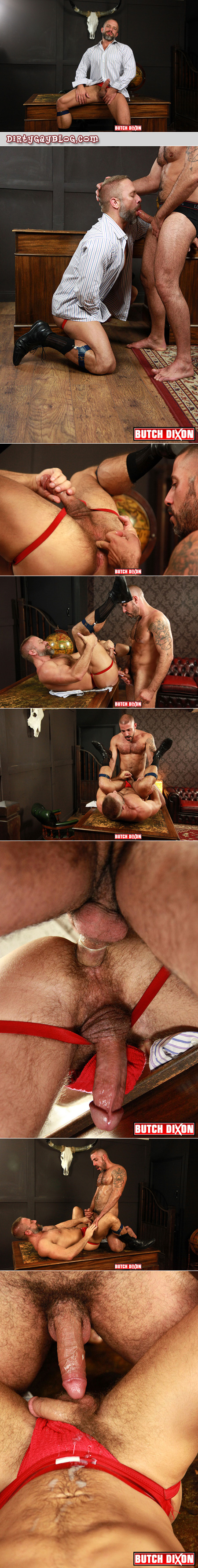 Hairy muscle Daddy fucking a rich mature man on the desk in his den while he still wears his socks and garters and a red jockstrap.