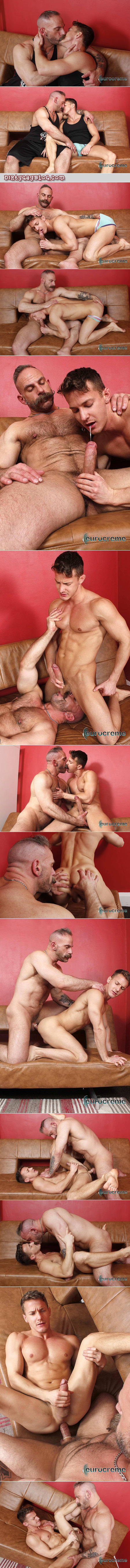 Mustachioed muscle Daddy fucks a smooth muscular hung young British guy.