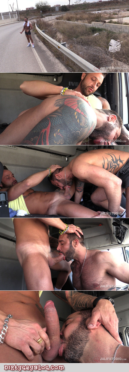Muscle bear hitchhiker is picked up by a horny male trucker.