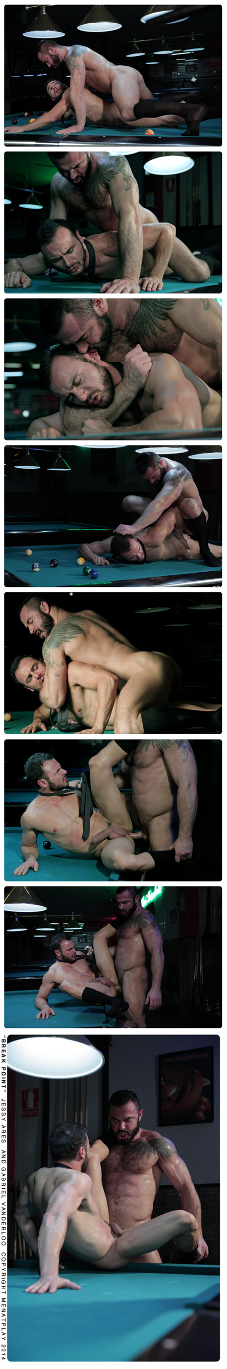 Hairy masculine men fucking in a dimly lit pool hall.