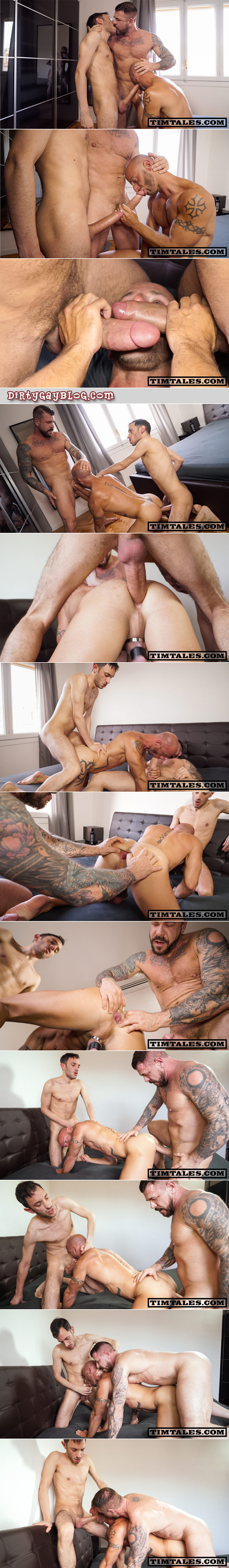 Two very well-hung men takes turns fucking a French muscle bottom bareback.