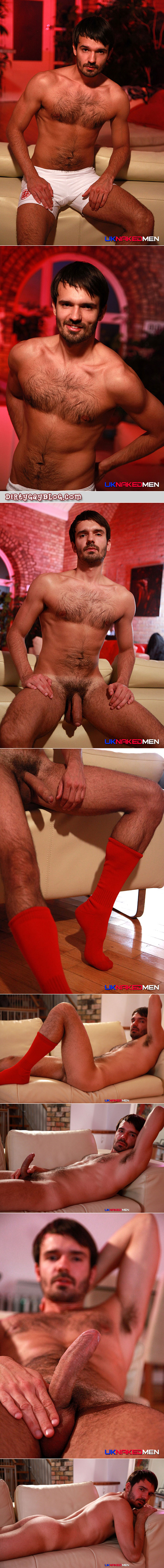 Scruffy uncut otter gets out of his athletic shorts and pops a boner in his OTC soccer socks.