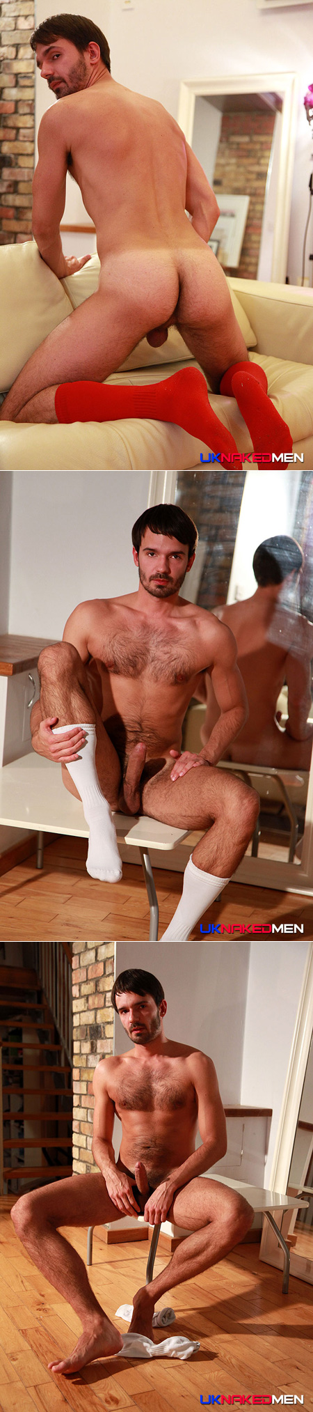 Tall hairy guy posing nude in OTC athletic socks.