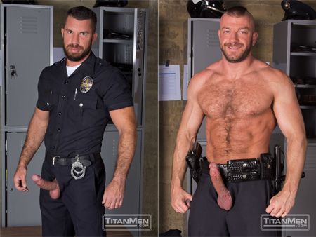 Hairy, muscular policemen with their erections exposed.