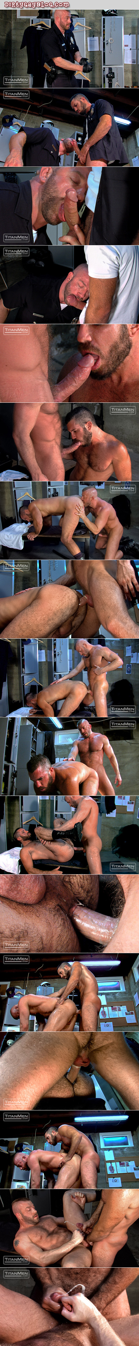 Hairy muscle men in cop uniforms take turns sucking and fucking in the locker room.