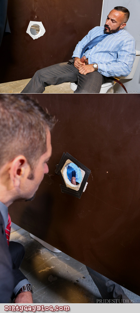 Businessmen in suits using a tearoom gloryhole.