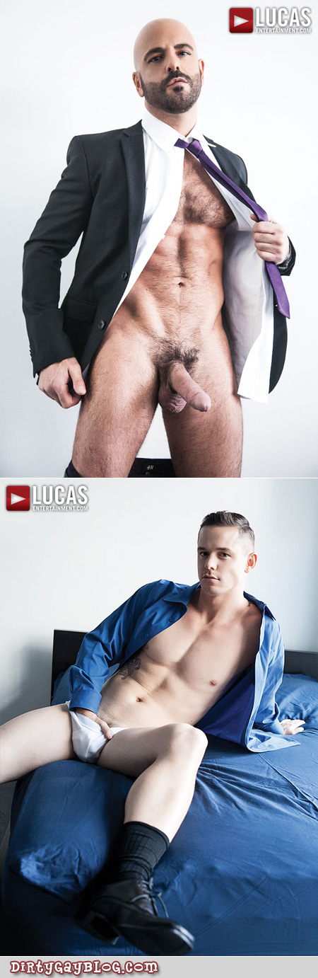 Hairy businessman with his cock out and the smooth young office worker in his underwear.