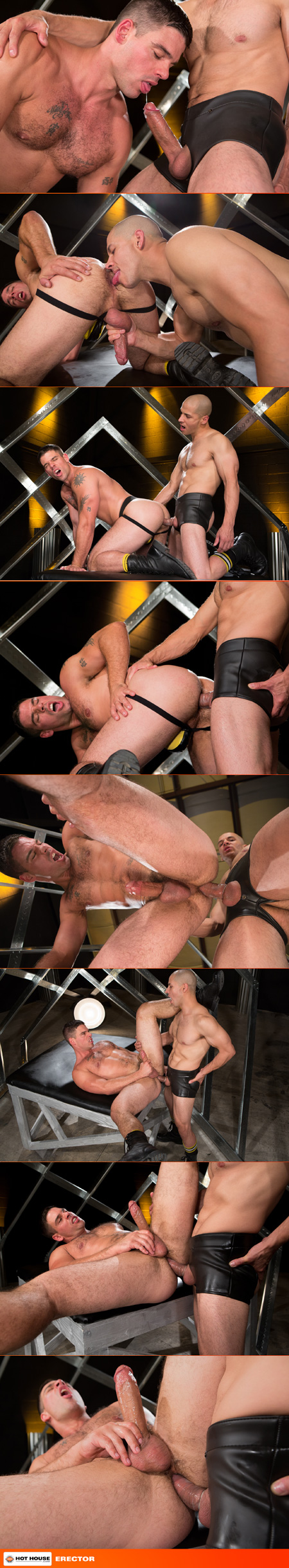 Hairy muscle hunk being fucked by a hung Latino in fetish gear.