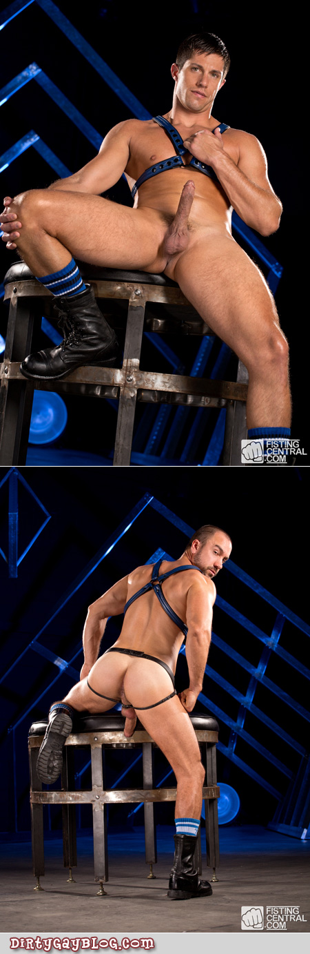 Fit men in nothing but leather boots, harnesses and jockstraps.
