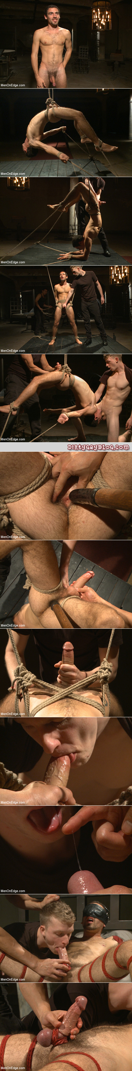 Male yoga student bound and forced to perform erotic poses while his cock is edged.