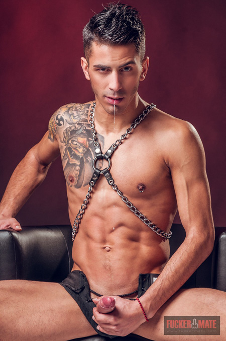 Young Spanish leatherman getting ready to masturbate.