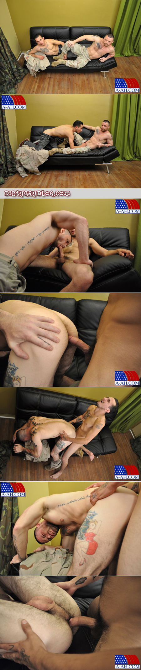 Hairy Army sergeant is fucked on the couch by a male civilian.