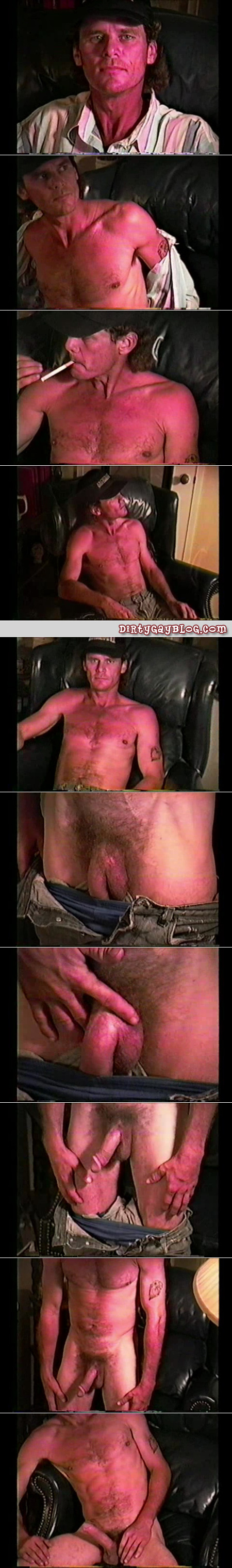 Hairy older blue collar man jacking off in private.