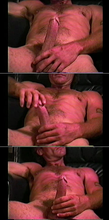 Naked blue collar guy playing with his hard cock.