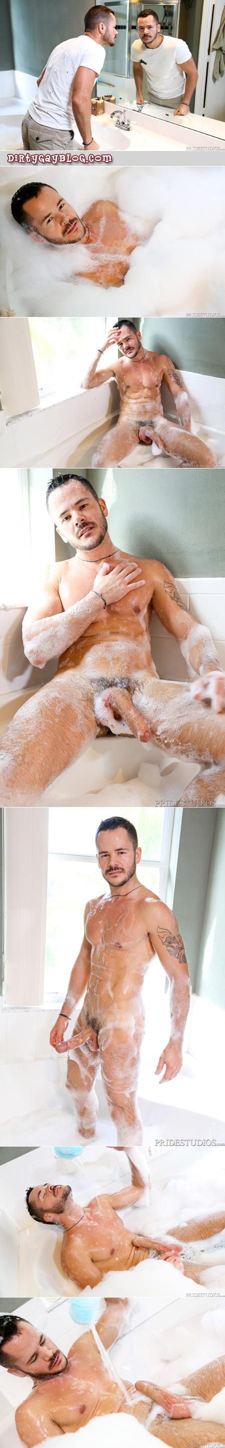 Hungarian man with a giant uncut cock masturbating in a bubble bath.