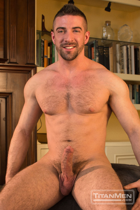 Hairy Spanish muscle bear nude with an erection.