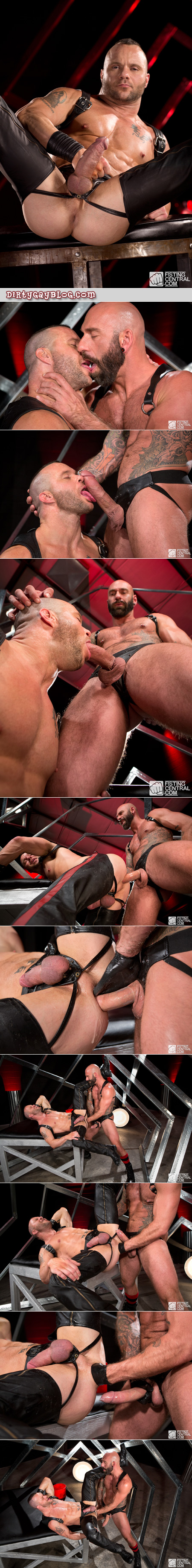 Muscular hunks in leather fist fucking and taking enormous cock.