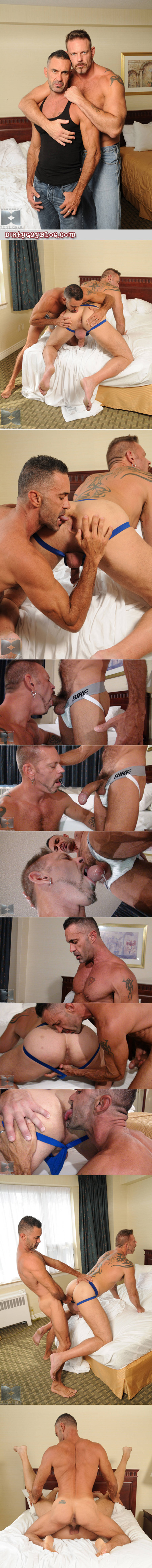 Muscle Daddy sucking a huge uncut cock in a jockstrap.