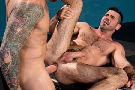 Muscular bear on his back being fucked by a giant dick.