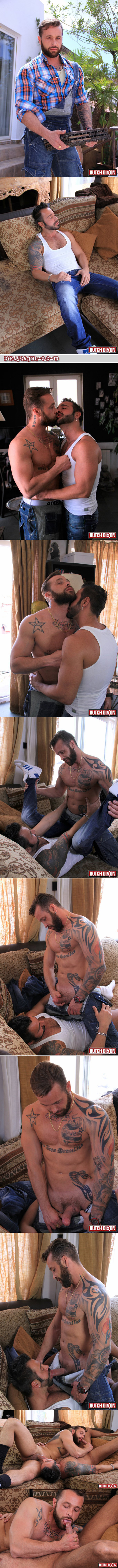 Bearded muscle Daddy hits on his hairy, hunky contractor for gay sex.