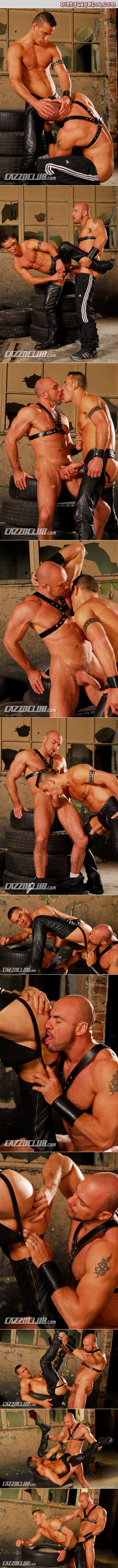 Leather muscle Daddies fucking in an abandoned warehouse.