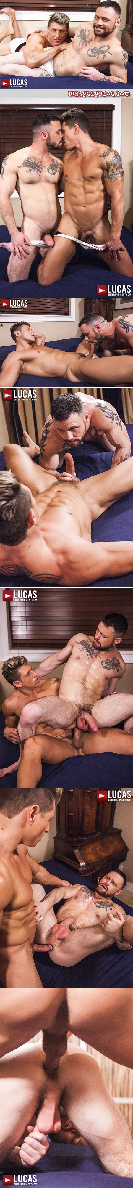 Tattooed muscle men in underwear flip-fuck bareback.