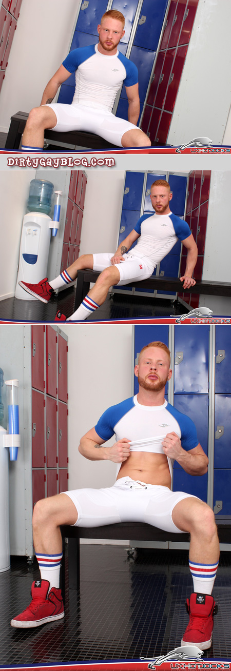 Bearded ginger male in tight spandex athletic gear.