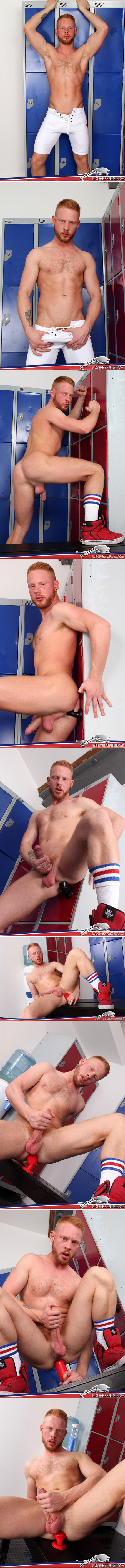 Hairy ginger jock sticking dildos up his ass in the locker room.