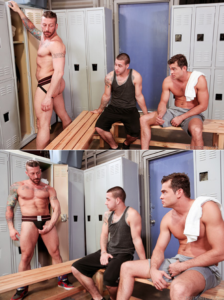 Gym guys checking out a attooed muscle stud changing in his black jockstrap.