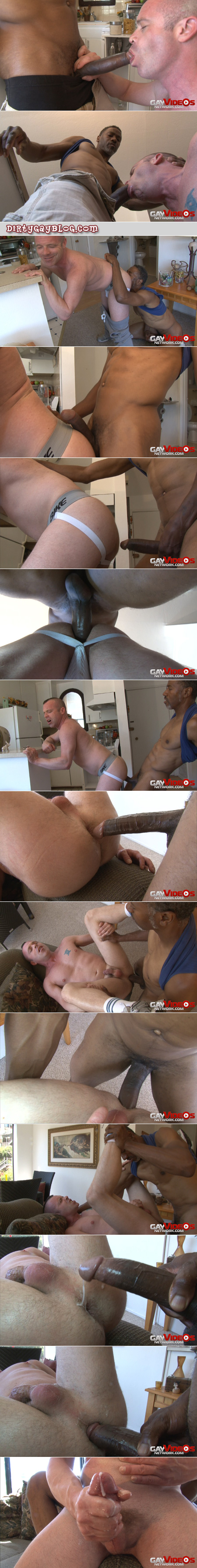 Well-hung black man fucking a little white guy bareback and shoving cum into his ass.
