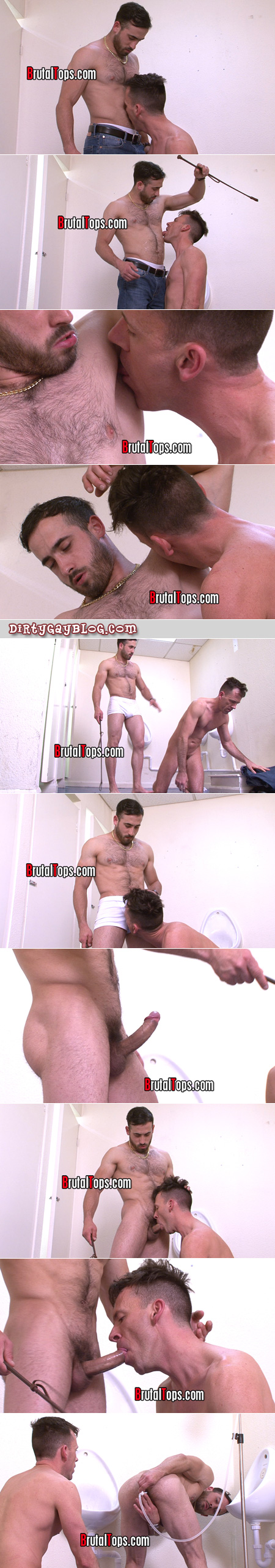 Straight muscle guy humiliating a gay bottom.