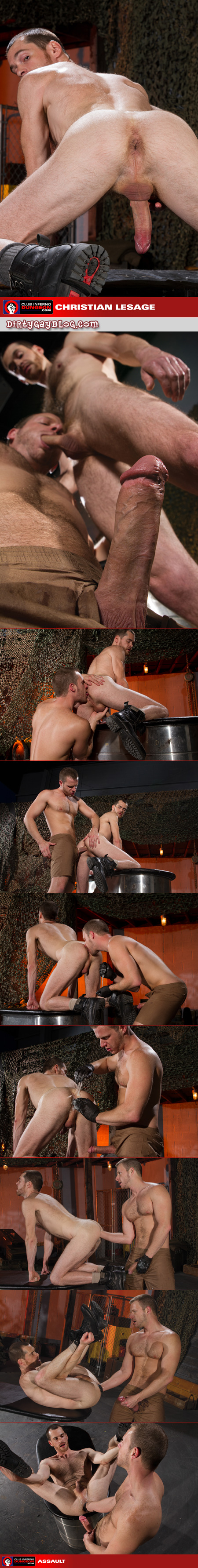 Dirty blonde soldier fisting another man in his ass.