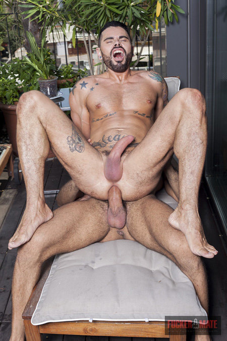 Hung Latino sitting on another huge raw cock.