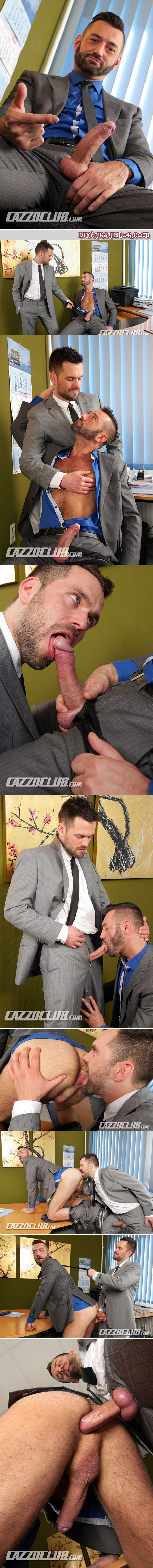 Hairy businessmen in suits fucking at the office.
