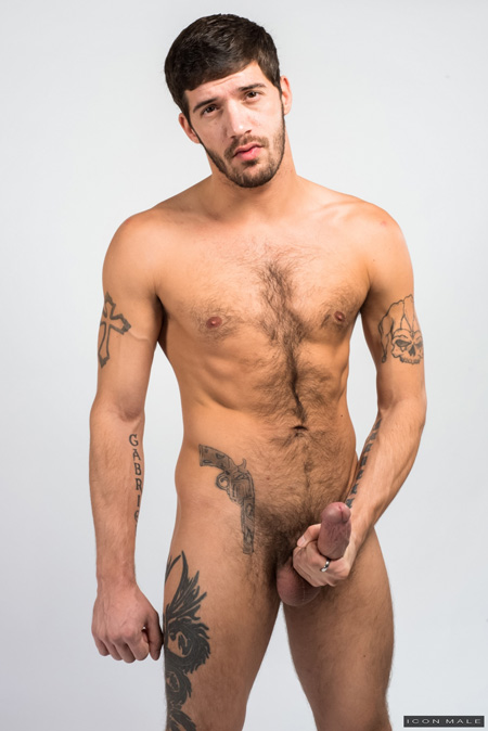 Muscular, hairy straight guy nude with an erection.